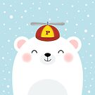 Polar Bear in a Propeller Hat by Lisa Marie Robinson