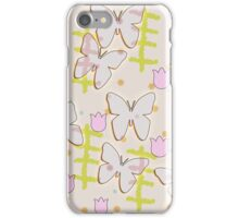 Butterfly and tulips iPhone Case/Skin
