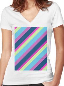 Summer fun Blue pink lime Colorful lines Women's Fitted V-Neck T-Shirt