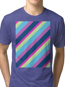 Summer fun Blue pink lime Colorful lines Tri-blend T-Shirt