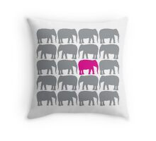 One Pink Elephant in the Herd Throw Pillow