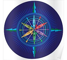 Kayak Compass Rose on white Poster