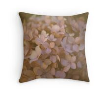 Pink Hydrangea Polaroid Throw Pillow