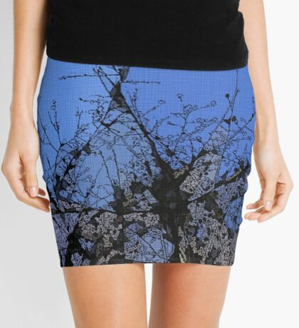 Branches in Blue Mini Skirt
