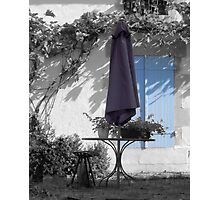 Summer Blues - Parasol and Shutters Photographic Print
