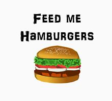 Iskybibblle Products / Feed me Hamburgers/ Black Unisex T-Shirt