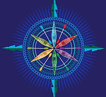 Kayak Compass Rose on blue by Carswell King