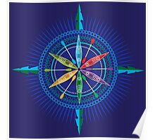 Kayak Compass Rose on blue Poster