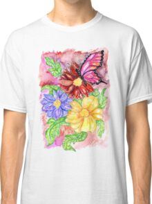 Flowers and Butterfly Classic T-Shirt