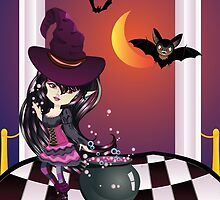 Halloween Witch on Balcony by AnnArtshock
