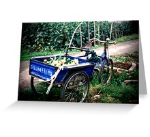 Blue Wagon in China Greeting Card