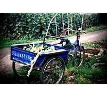 Blue Wagon in China Photographic Print