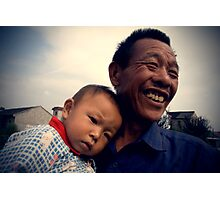 Chinese grandfather, grandchild, baby, China's People, Rural People of China, China Portraits, Travel in China Photographic Print