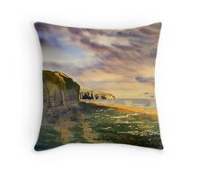 Splash of  Gold- Sewerby Cliffs Throw Pillow