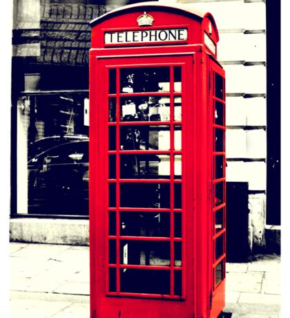 Red British Telephone Booth in London Sticker