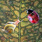 Leaf with Ladybug & Snail by Samitha Hess Edwards