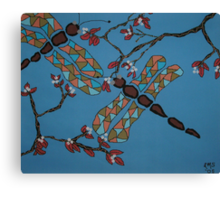 Dragonflies and Cherry Blossoms Canvas Print