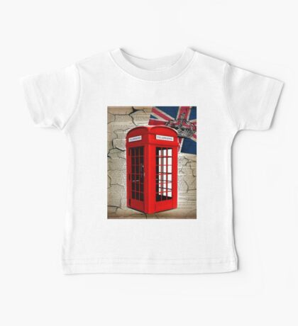 rustic grunge union jack retro london telephone booth Baby Tee