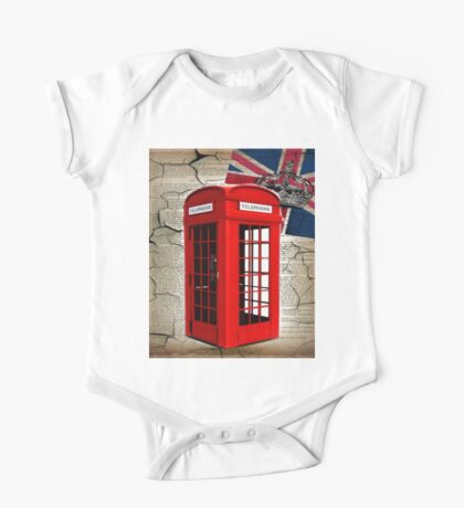 rustic grunge union jack retro london telephone booth One Piece - Short Sleeve
