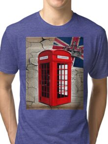 rustic grunge union jack retro london telephone booth Tri-blend T-Shirt