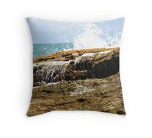 sea wave crashing the rocks Throw Pillow