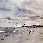 Sand, Sea and Gulls by Glenn Marshall