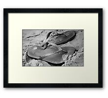 silver brazilian sandals of strips flipflops Framed Print