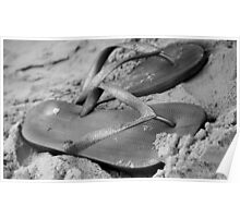 silver brazilian sandals of strips flipflops Poster