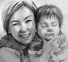 drawing mother and child by jhjjjoo