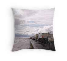 Road to Snowy Hell Throw Pillow