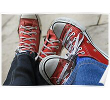 two pairs of red converse allstars Poster