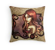 Rose Red Curls Throw Pillow