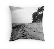 riding a bike in a brazilian beautiful beach Throw Pillow