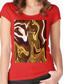 yummy candy Chocolate Carmel gold yellow Swirl Women's Fitted Scoop T-Shirt