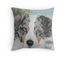 Rowdy ~ Australian Shepherd ~ Oil Painting Throw Pillow