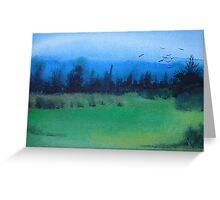 blue skies landscape water-color stylized painting Greeting Card