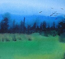 blue skies landscape water-color stylized painting by pollywolly
