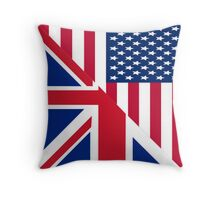 American and Union Jack Flag Throw Pillow