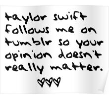 taylor swift follows me on tumblr so your opinion doesn't really matter. Poster