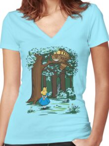 My Neighbor in Wonderland (Kelly Green) Women's Fitted V-Neck T-Shirt