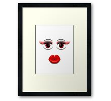 Red Eyes With Lips Framed Print