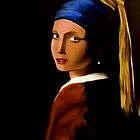 Girl With A Pearl Earring - Anthony Mitchell Oil Painting by Anthony Mitchell