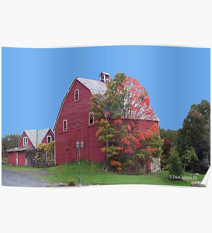 Red Barn in the Fall Poster
