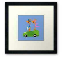 Giraffes and Car  Blue Framed Print