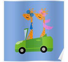 Giraffes and Car  Blue Poster