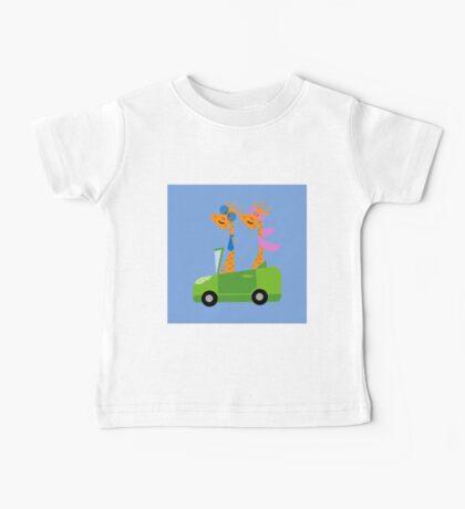 Giraffes and Car  Blue Baby Tee