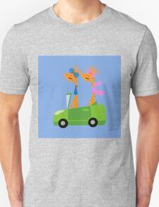 Giraffes and Car  Blue Unisex T-Shirt