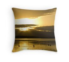 Pelicans on a lake Throw Pillow
