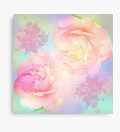Pastel Camellia's and Lillies on a abstract background Canvas Print