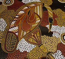 dinawan (Emu) bu Australian Aboriginal artist S Hooper by aboriginalart